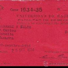 Documentos antiguos: TARJETA DE IDENTIDAD DEL ALUMNO - FACULTAD DE DERECHO - UNIVERSIDAD DE MADRID - CURSO DE 1934. Lote 28947608