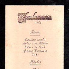 Documentos antiguos: MENU HOTEL SAN FRANCISCO DE CADIZ 1952. Lote 28871634