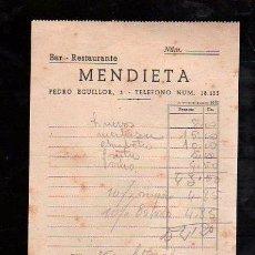 Documentos antiguos: FACTURA RESTAURANTE MENDIETA. BILBAO 1946. Lote 28871820
