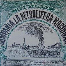 Documentos antiguos: ACCION COMPAÑÍA LA PETROLÍFERA NACIONAL - SAN SEBASTIÁN 1928. Lote 28887389
