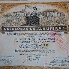 Documentos antiguos: ACCION CELULOSAS LA ALBUFERA - PALMA DE MALLORCA - 1929. Lote 143208374
