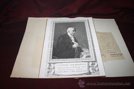 Documentos antiguos: CARPETA CON GRABADO Y RECORTE DE MANUEL JOSÉ QUINTANA. PROCEDENTE DE ARCHIVO PRIVADO - Foto 2 - 28937426