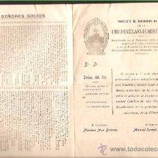 Documentos antiguos: MONTEPIO SOCORROS MUTUOS * UNIÓ D' ESCOLANS MONTSERRAT* AÑO 1930. Lote 28971250