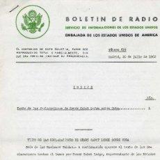 Documentos antiguos: BOLETÍN DE RADIO (SERV. DE INFORMACIÓN DE LOS ESTADOS UNIDOS DE AMÉRICA) SITUACIÓN DE CUBA, 1960 . Lote 28972476