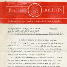 Documentos antiguos: RADIO BOLETÍN Nº428 (EMBAJADA DE ESTADOS UNIDOS DE AMÉRICA). 6 AGOSTO 1958 ¡MUY DIFÍCIL!. Lote 28972610