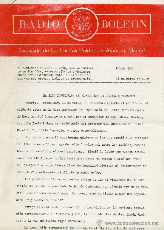 RADIO BOLETÍN Nº328 (EMBAJADA DE ESTADOS UNIDOS) 11-3-1958 (Coleccionismo - Documentos - Otros documentos)