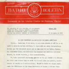 Documentos antiguos: RADIO BOLETÍN Nº328 (EMBAJADA DE ESTADOS UNIDOS) 11-3-1958. Lote 29010154