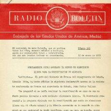 Documentos antiguos: RADIO BOLETÍN Nº539 (EMBAJADA DE ESTADOS UNIDOS DE AMÉRICA). 15-1-1959 ¡MUY DIFÍCIL!. Lote 29010277