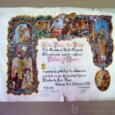 Documentos antiguos: TITULO, DIPLOMA, FALLAS, FALLERO DE HONOR, 1961, FALLA PLAZA DEL PILAR. Lote 29135643
