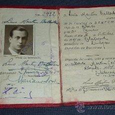 Documentos antiguos: ANTIGUO CARNET DE IDENTIDAD ESCOLAR DE LA UNIVERSIDAD DE BARCELONA, 1930S . DE CALATAYUD. . Lote 29125383