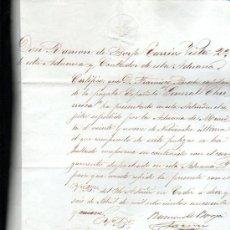 Documentos antiguos: MANILA. 1859. SELLO EN SECO DE ISABEL II DE 4 MARAVEDIS. CERTIFICADO ADUANA. LEER. Lote 29133214
