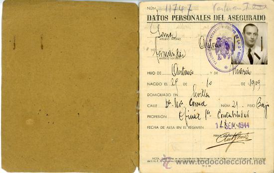 Documentos antiguos: CARTILLA CAJA NACIONAL SEGURO ENFERMEDAD. ANTONIO GOMEZ FERNANDEZ. 1944 - Foto 2 - 29165073