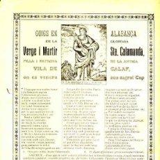 Documentos antiguos: GOIGS EN ALABANÇA DE LA GLORIOSA SANTA CALAMANDA, PATRONA DE LA VILA DE CALAF (IMP.VIVES DE MANRESA). Lote 29213578