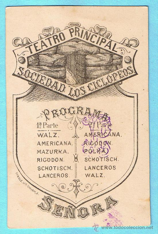 TEATRO PRINCIPAL. SOCIEDAD LOS CICLÓPEOS. PROGRAMA MUSICAL. GIRALT LIT. UNIÓN, 3. TARRAGONA. 1880`S. (Coleccionismo - Documentos - Otros documentos)