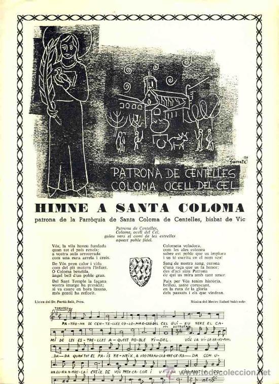 GOIGS A SANTA COLOMA, PATRONA DE CENTELLES (Coleccionismo - Documentos - Otros documentos)