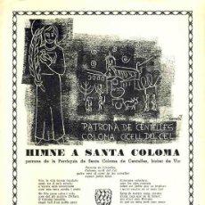 Documentos antiguos: GOIGS A SANTA COLOMA, PATRONA DE CENTELLES. Lote 29229797
