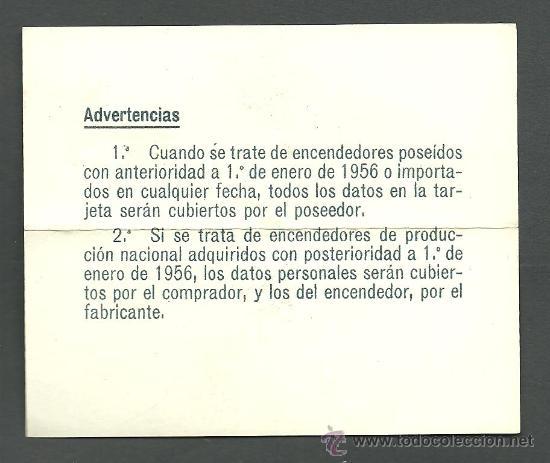 Documentos antiguos: 0325 Tatjeta para Contribución del Impuesto sobre cerillas y Encendedores - Epigrafe C del 7 de febr - Foto 2 - 29273061