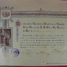 Documentos antiguos: ACTA DE ADMISIÓN DE LA ORDEN TERCERA DE Nº SR PADRE S. FRANCISCO DE ASIS DE S. FERMIN DE MADRID 1916. Lote 29384297