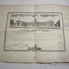 Documentos antiguos: ANTIGUO DOCUMENTO / TITULO DE PROPIEDAD DE UN NICHO DEL CEMENTERIO DE BARCELONA, AÑO 1865. Lote 29383535