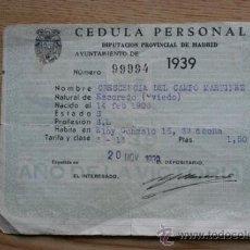 Cédula personal. Diputación provincial de Madrid. 1939.
