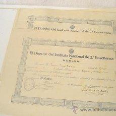 Documentos antiguos: 16 DIPLOMAS INSTITUTO NACIONAL DE 2º GRADO ENSEÑANZA DE UELVA AÑO1934,35,38.. Lote 29492770