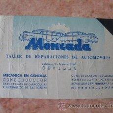 Documentos antiguos: TARJETA COMERCIAL EMPRESA MONCADA,TALLER REPARACION AUTOMOVILES,SEVILLA,AÑOS 50. Lote 29683939