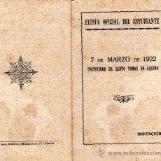 Documentos antiguos: FIESTA OFICIAL DEL ESTUDIANTE. 7 DE MARZO DE 1922. INVITACIÓN.. Lote 29770214