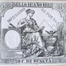 Documentos antiguos: PAPEL TIMBRADO. 50 C DE PESETA. 1882. IMPUESTO DE GUERRA. ENVIO GRATIS¡¡¡. Lote 29921984