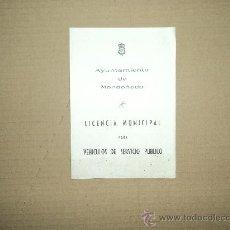 Documentos antiguos: LICENCIA MUNICIPAL -VEHICULOS MONDOÑEDO. Lote 30077704