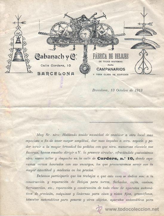 DOCUMENTO CARTA DE CALABANACH Y CIA FABRICA RELOJES CAMPANARIOS BARCELONA CALLE CORDERS,10 (Coleccionismo - Documentos - Otros documentos)
