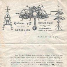 Documentos antiguos: DOCUMENTO CARTA DE CALABANACH Y CIA FABRICA RELOJES CAMPANARIOS BARCELONA CALLE CORDERS,10. Lote 30123300