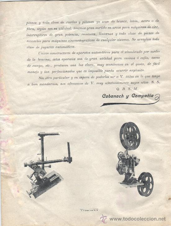 Documentos antiguos: documento carta de calabanach y cia fabrica relojes campanarios barcelona calle corders,10 - Foto 2 - 30123300