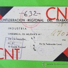 Documentos antiguos: CARNET CONFEDERACION REGIONAL DEL TRABAJO , CNT - AIT 1945, CLANDESTINO. Lote 30151945