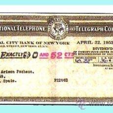 Documentos antiguos: DIVIDENDOS 1951, 1952 Y 1953. SIETE CHEQUES DIVIDENDOS DE INTERNACIONAL TELEPHONE AND TELEGRAF. Lote 30193400