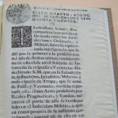 Documentos antiguos: PALMA DE MALLORCA 1754 * REY FERNANDO VI AUTORIZA LLEVAR BAYONETA COMO ARMA CORTA * IMPRESO. Lote 30320166