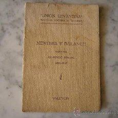 Documentos antiguos: UNION LEVANTINA DE SEGUROS,MEMORIA Y BALANCE EJERCICIO SOCIAL 1926-1927.VALENCIA.. Lote 30387569