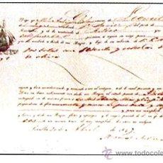 Documentos antiguos: AÑO 1849.- CONOCIMIENTO DE EMBARQUE DEL LUGRE - FCO. JAVIER - DE SEVILLA A BILBAO EL 20 DE ABRIL. Lote 30602400