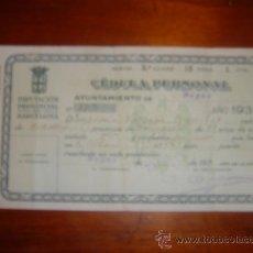 CEDULA PERSONAL DE 1939