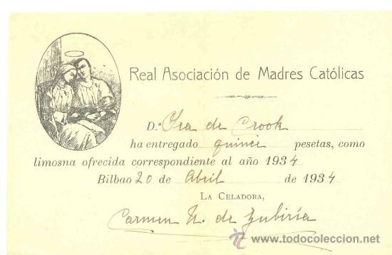 OFENDA LIMOSNA – BILBAO 1934 .. REAL ASOCIACIÓN DE MADRES CATÓLICAS (Coleccionismo - Documentos - Otros documentos)