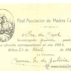 Documentos antiguos: OFENDA LIMOSNA – BILBAO 1934 .. REAL ASOCIACIÓN DE MADRES CATÓLICAS. Lote 30697974