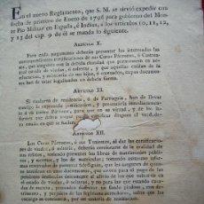 Documentos antiguos: 1796-CARLOS IV.NUEVO REGLAMENTO.MONTE PÍO MILITAR EN ESPAÑA E INDIAS.. Lote 30838095