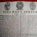 Documentos antiguos: 1783-PIO SEXTO PAPA.CANONIZACIÓN.IGLESIA.RELIGIÓN.ROMA.ITALIA.PUEDE PAGARSE A PLAZOS. Lote 87634548