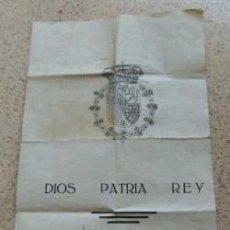 Documentos antiguos: MANIFESTO DE DIOS PATRIA Y REY - -DE S.A.R. EL PRINCIPE DON JAVIER DE BORBON-PARMA JULIO 1945. Lote 31155876