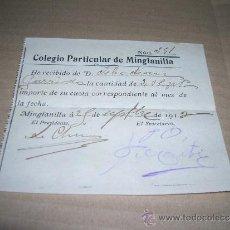 Documentos antiguos: RECIBO PAGO CUOTA DE COLEGIO PARTICULAR. MES DE SEPTIEMBRE, AÑO 1913. MIDE 11 X 9,5 CM... Lote 31016795