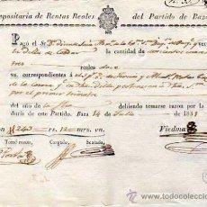 Documentos antiguos: DEPOSITARIO DE RENTAS REALES DEL PARTIDO DE BAZA. GRANDA 1831. REALES.. Lote 31050553