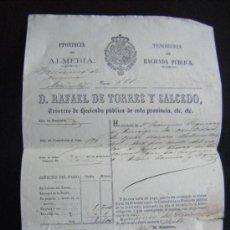 Documentos antiguos: TESORERIA HACIENDA PÚBLICA ALMERIA. TESORERO RAFAEL TORRES Y SALCEDO. 1867.. Lote 31065445