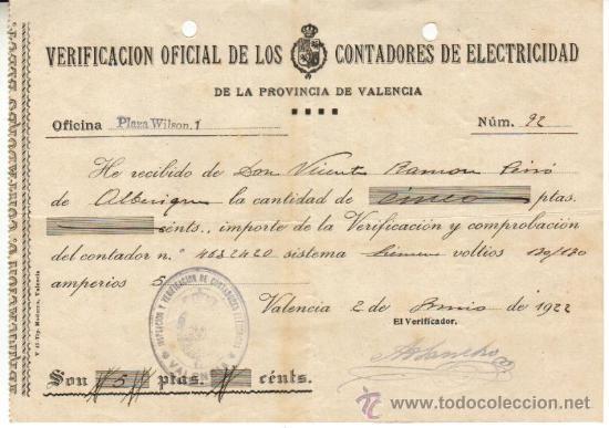 1922 VALENCIA. RECIBO OFICIAL DE LOS CONTADORES DE ELECTRICIDAD SELLO DE TAMPON DE DICHA INSPECCION (Coleccionismo - Documentos - Otros documentos)