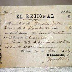 Documentos antiguos: RECIBO, PERIODICO EL REGIONAL, INSERCION ANUNCIO, COMUNIDAD REGANTES MESTALLA, 1897. Lote 31203620