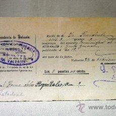 Documentos antiguos: RECIBO, PERIODICO LA CORRESPONDENCIA VALENCIA, INSERCION ANUNCIO, COMUNIDAD REGANTES MESTALLA, 1897. Lote 31203651