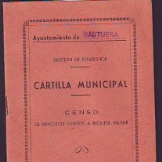 Documentos antiguos: CASTUERA CARTILLA MUNICIPAL. Lote 31239639